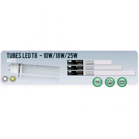 Tube LED 1200mm - T8 - 18W - 6000K- 1770Lm - Vision-El - 7602