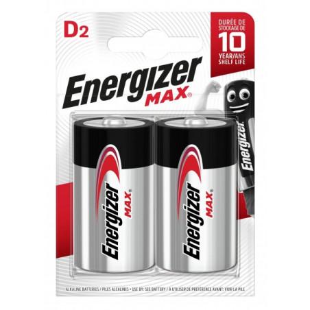 Pile Alcaline Energizer LR20 Max (ex-Ultra+) - Blister de 2
