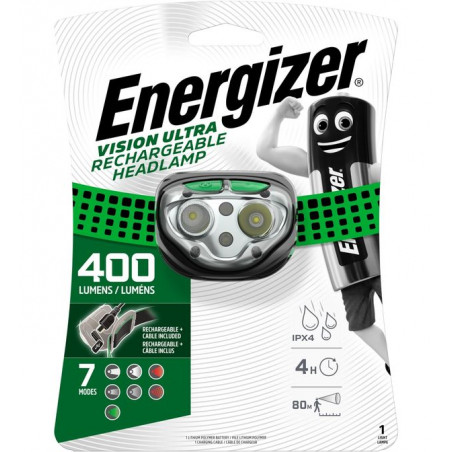 Torche Frontale Energizer RECHARGEABLE Vision Ultra Headlight - 400LM - batterie incluses