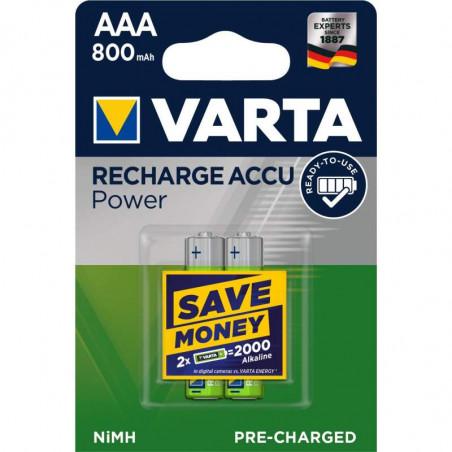 HR3 - Accu Varta AAA 800mAh READY 2 USE - blister de 2 - 56703 101 402