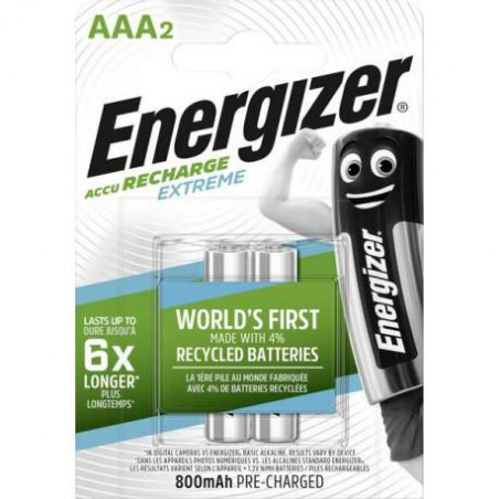 HR3 - Accus AAA Energizer Extreme Ni-Mh - 800mah - Blister de 2 - R2U