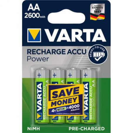 HR6 - Accu Varta AA 2600mAh  Professional Accus R2U - blister de 4 - 5716 301 404