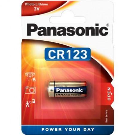 Pile photo CR123A PANASONIC 3V Lithium - Blister unitaire