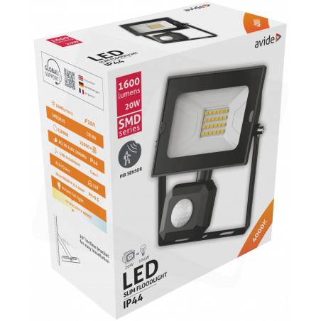 Projecteur AVIDE LED SMD Detecteur 120° - 20W - LJ - 4000/4500K - 1600Lm - 909004D