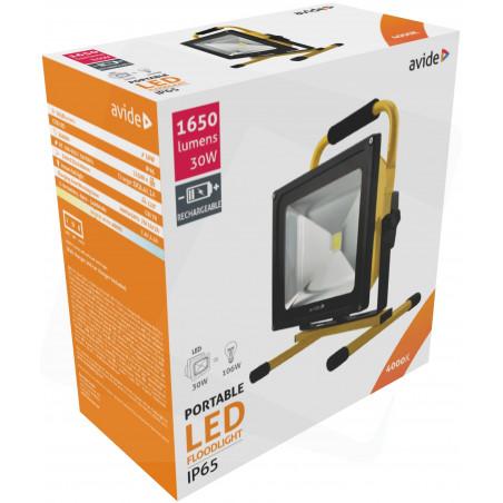 Projecteur AVIDE Portatif LED 30W Rechargeable 12/220V - 1650Lm  4000K - IP65 - 922423