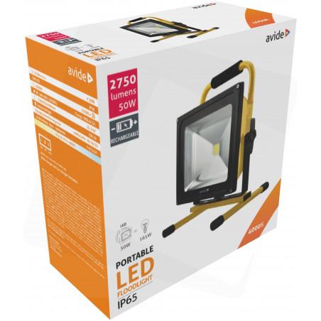 Projecteur AVIDE Portatif LED 50W Rechargeable 12/220V - 2750Lm  4000K - IP65 - 922447