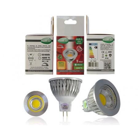 Ampoule LED - GU5.3 MR16 - 5W - 4000K - 75° - boite - 470Lm - Dim - EL-Vision 7849 - 775583