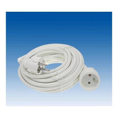 Cordon prolongateur H05VVF 3x1.5mm² blanc 5 metres + terre