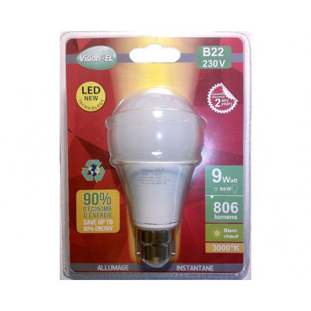 Ampoule LED - B22 - 10W - 3000K - blister - 230V - 270°- EL-Vision 7393B - 773565