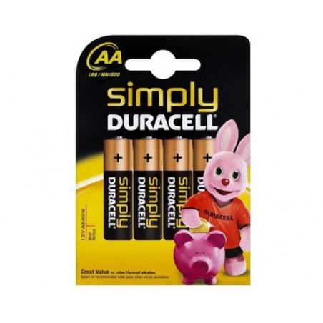 Pile alcaline LR06 Duracell Simply blister de 4