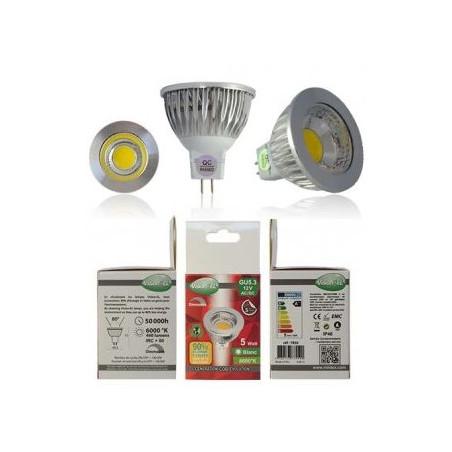 Ampoule LED - GU5.3 - 5W - 6000K - 75° - boite - 490Lm - Dim - EL-Vision 7850