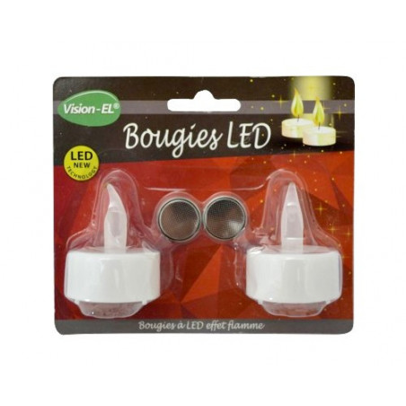 Bougies LED decorative 2300K blister de 2 - 3V - 2xCR2032 incl - 6565 Vision EL