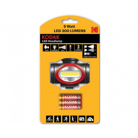 Torche Kodak  Frontale LEd 5W- 300Lm - 3xAAA saline incluses