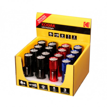 Presentoir 16 torches Kodak 9 LED - dragonne incl - piles 3xAAA incl