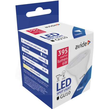 Ampoule AVIDE LED Spot GU10 alu/plast -  6W - 38° - 395lm - 6000/6500K - 286708