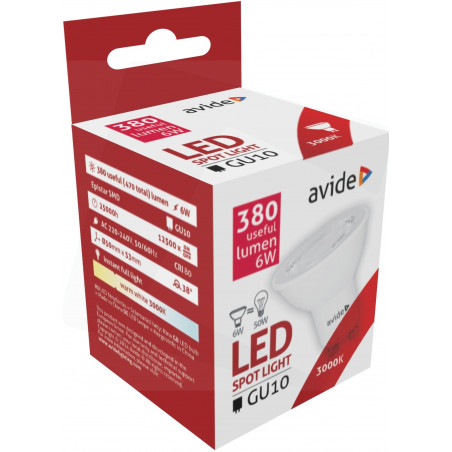 Ampoule AVIDE LED Spot GU10 alu/plast -  6W - 38° - 380lm - 2900/3000K - 286661