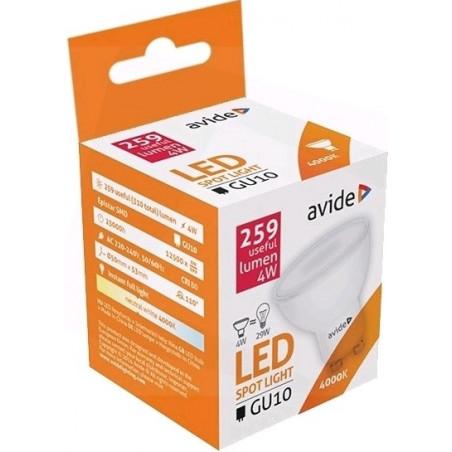 Ampoule AVIDE LED Spot GU10 alu/plast -  4W - 110° - 259lm - 4000k - 286746