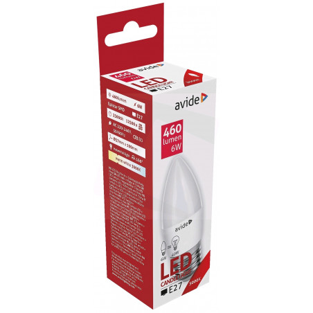 Ampoule AVIDE LED BOUGIE -  E27 - 6W - 470Lm - 3000K - 286609