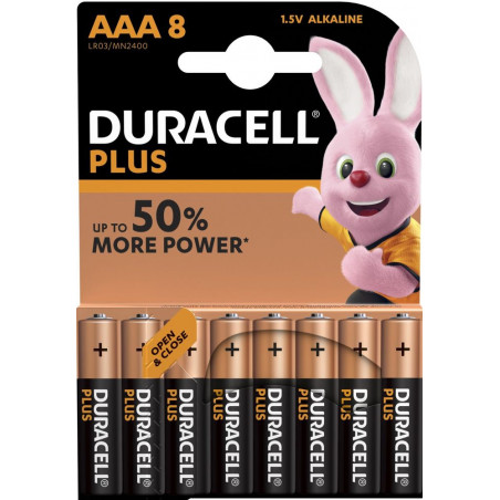 Pile alcaline LR03 MN2400 Duracell PLUS Power blister de 8
