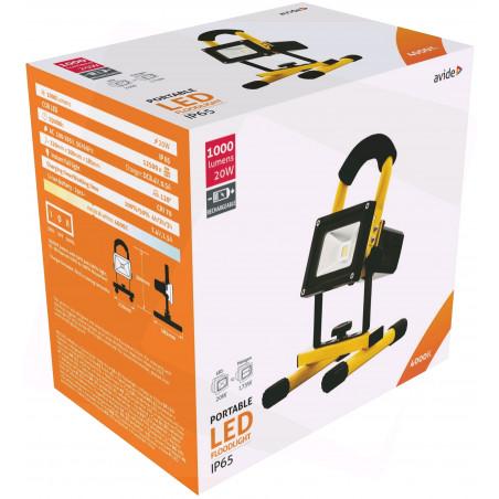Projecteur Portatif LED 20W Rechargeable 12/220V - 1000Lm  4000K - IP65 - 907109