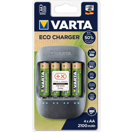 ECO Chargeur  Varta Pocket - 57680 101 451 avec 4 x HR6 2100mah inclus - blister unitaire