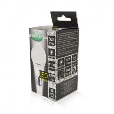 Ampoule LED - B22 - 12W  4000K - BOITE - 230V - 220°- 1100Lm Vision El 739381