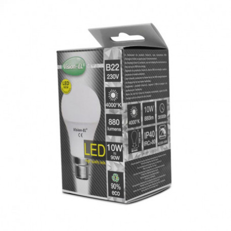 Ampoule LED - B22 - 10W - 4000K - boite - 230V - 220°- EL-Vision 739351