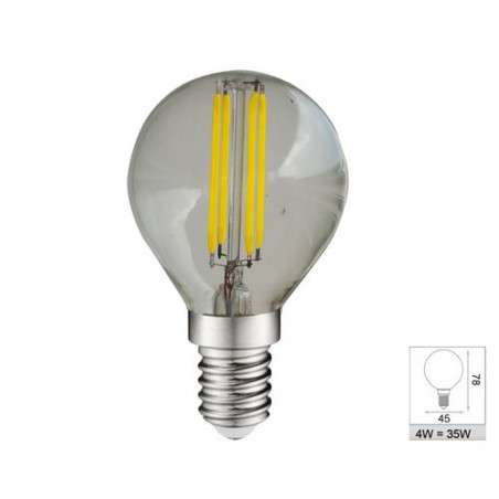 Ampoule LED COB filament E14 Globe  P45- 4W 4000K 380lm -  El Vision