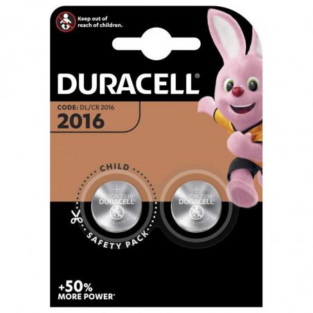 Pile electronique CR2016 Duracell blister de 2